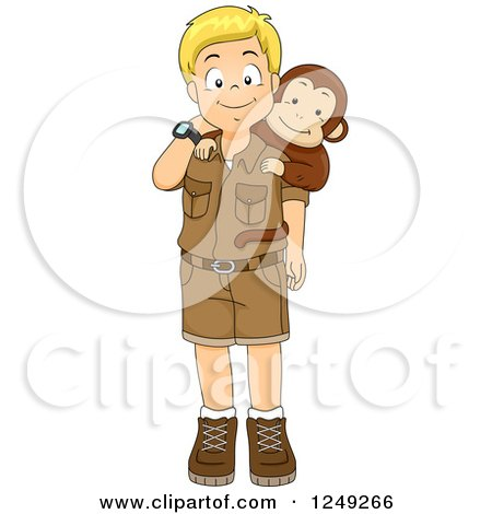 Clipart of a Happy Blond Safari Boy with a Monkey - Royalty Free Vector Illustration by BNP Design Studio