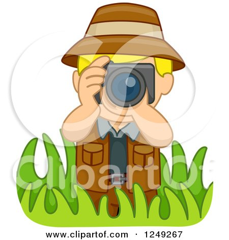 Clipart of a Blond Safari Boy Taking Pictures in Grasses - Royalty Free Vector Illustration by BNP Design Studio