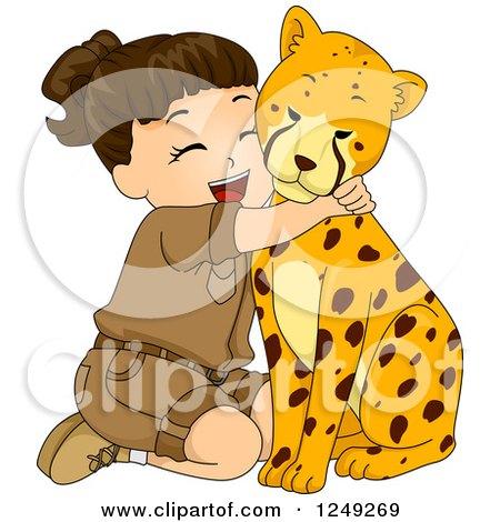 Clipart of a Brunette Safari Girl Hugging a Cheetah - Royalty Free Vector Illustration by BNP Design Studio