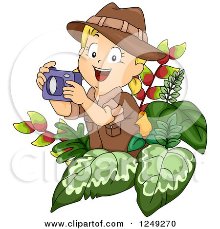 Clipart of a Blond Safari Girl Taking Pictures in Foliage - Royalty Free Vector Illustration by BNP Design Studio
