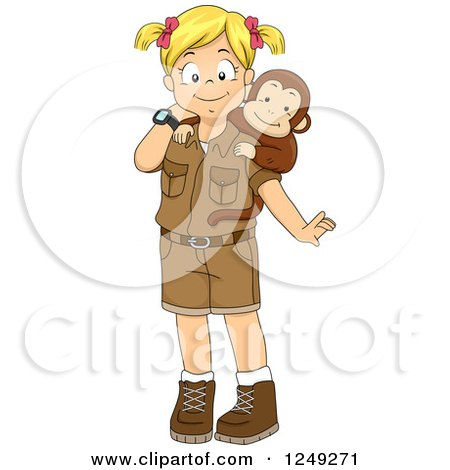 Clipart of a Blond Safari Girl with a Pet Monkey - Royalty Free Vector Illustration by BNP Design Studio