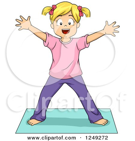 Clipart of a Blond Girl in a Yoga Star Pose - Royalty Free Vector Illustration by BNP Design Studio