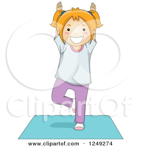 Clipart of a Red Haired Girl in a Yoga Tree Pose on a Mat - Royalty Free Vector Illustration by BNP Design Studio