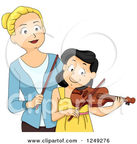 Clipart of a Music Instructor Teaching a Girl How to Play a Violin - Royalty Free Vector Illustration by BNP Design Studio
