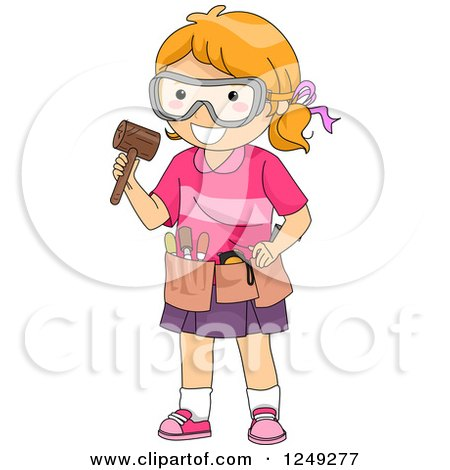 Clipart of a Red Haired Girl with Wood Carving Tools - Royalty Free Vector Illustration by BNP Design Studio