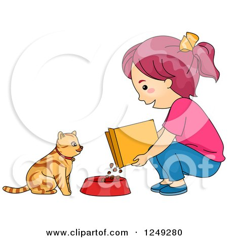 Clipart of a Girl Feeding Her Cat Dry Food - Royalty Free Vector Illustration by BNP Design Studio