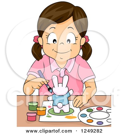Clipart of a Creative Brunette Girl Painting a Rabbit Figurine - Royalty Free Vector Illustration by BNP Design Studio