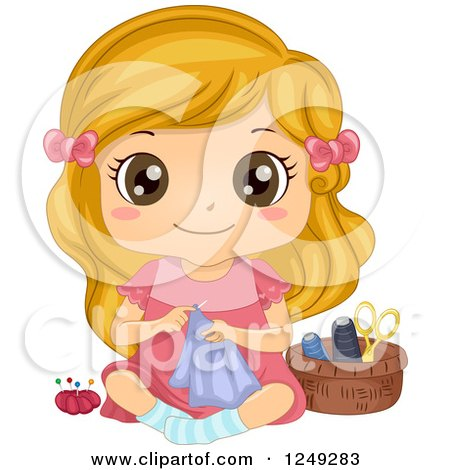 Clipart of a Cute Little Girl Sitting on the Floor and Sewing - Royalty Free Vector Illustration by BNP Design Studio