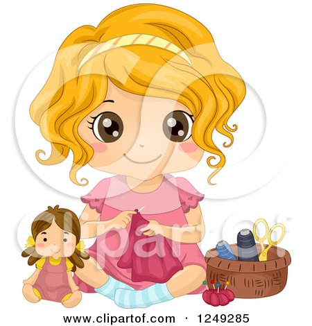 Clipart of a Cute Little Girl Sitting on the Floor and Sewing Doll Clothes - Royalty Free Vector Illustration by BNP Design Studio