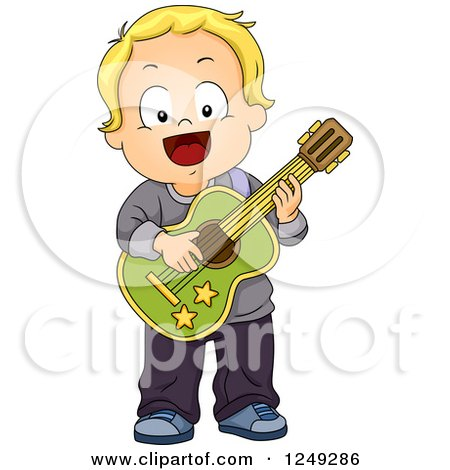 Clipart of a Happy Blond Toddler Boy Playing a Guitar - Royalty Free Vector Illustration by BNP Design Studio