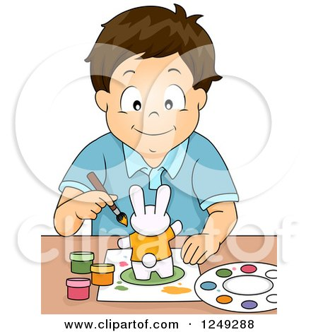 Clipart of a Happy Brunette Boy Painting a Rabbit Figurine - Royalty Free Vector Illustration by BNP Design Studio