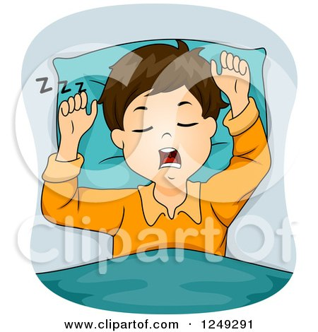 Clipart of a Brunette Boy Snoring - Royalty Free Vector Illustration by BNP Design Studio