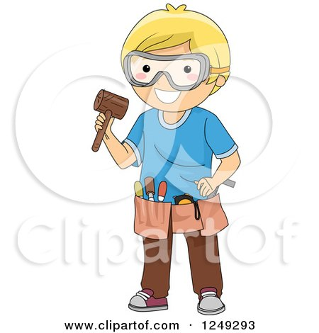 Clipart of a Blond Boy with Wood Carving Tools - Royalty Free Vector Illustration by BNP Design Studio