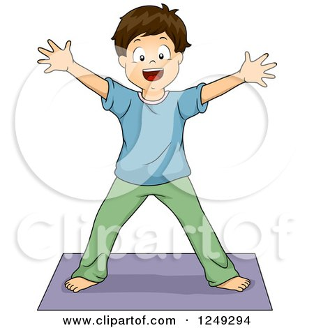 Clipart of a Brunette Boy in a Yoga Star Formation - Royalty Free Vector Illustration by BNP Design Studio