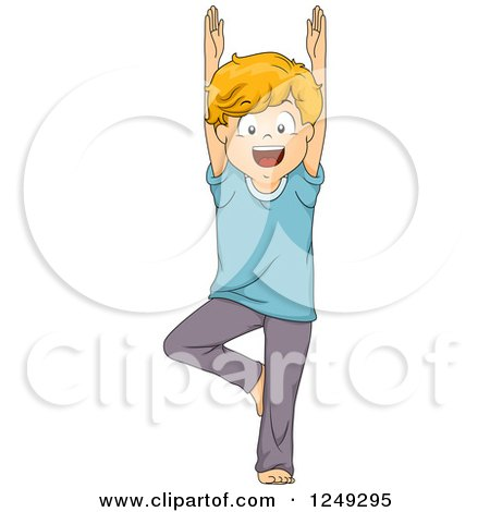 clipart of a happy boy in a yoga tree pose  royalty free
