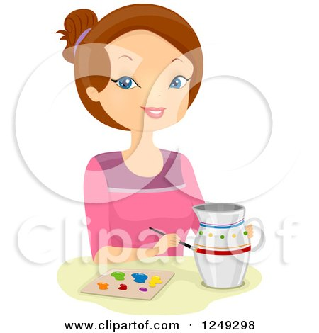 Clipart of a Brunette Caucasian Woman Painting a Pitcher - Royalty Free Vector Illustration by BNP Design Studio