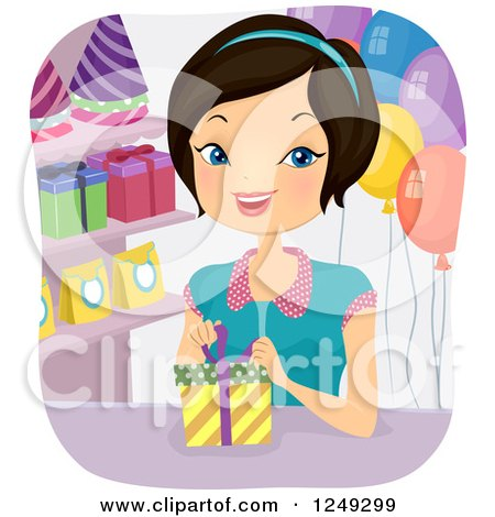 Clipart of a Happy Woman Gift Wrapping a Present in a Party Shop - Royalty Free Vector Illustration by BNP Design Studio