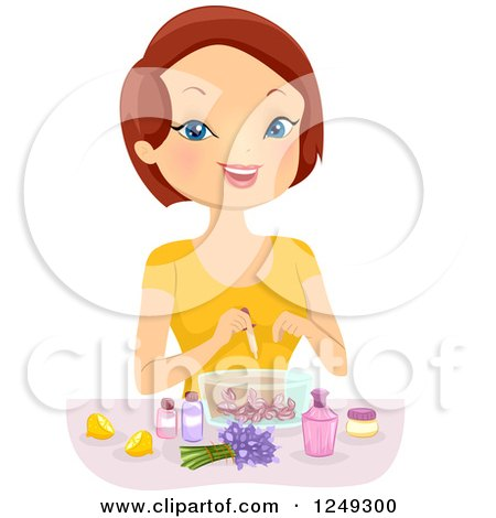 Clipart of a Brunette Caucasian Woman Making Perfume - Royalty Free Vector Illustration by BNP Design Studio