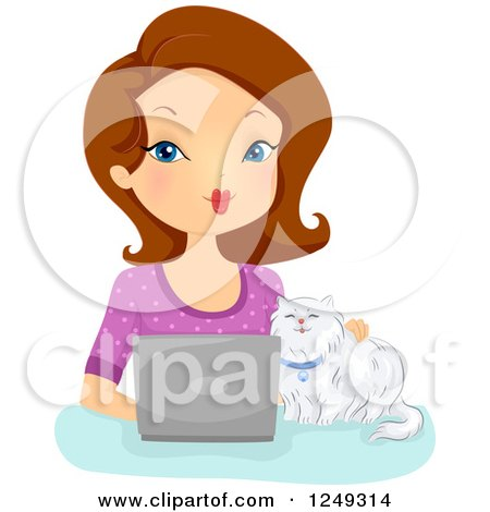 Clipart of a Brunette Caucasian Woman and Cat Using a Laptop Computer - Royalty Free Vector Illustration by BNP Design Studio