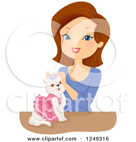 Clipart of a Brunette Caucasian Woman Styling a Princess Cat - Royalty Free Vector Illustration by BNP Design Studio