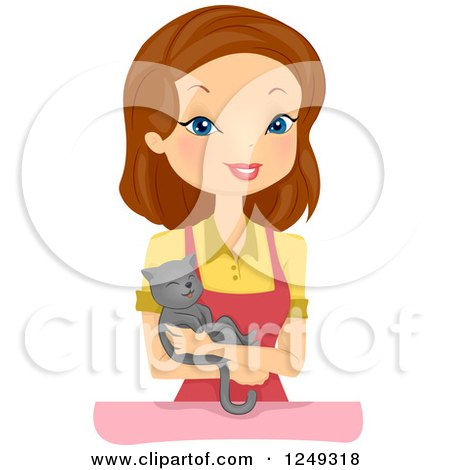 Clipart of a Brunette Caucasian Woman Pet Shop Owner Holding a Cat - Royalty Free Vector Illustration by BNP Design Studio