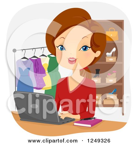 Clipart of a Brunette Caucasian Woman Operating an Online Boutique - Royalty Free Vector Illustration by BNP Design Studio