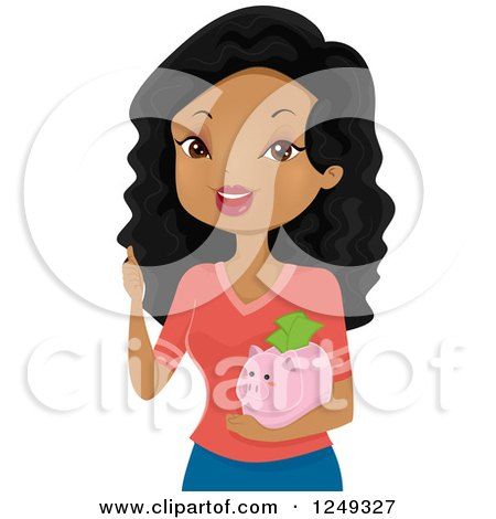 Clipart of a Happy Black Woman Holding a Thumb up and a Piggy Bank - Royalty Free Vector Illustration by BNP Design Studio