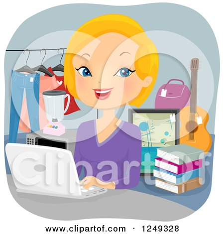 Clipart of a Blond Caucasian Woman Selling Items Online - Royalty Free Vector Illustration by BNP Design Studio