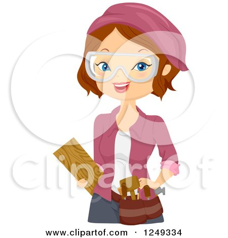 Clipart of a Brunette Caucasian Woman Wood Carver - Royalty Free Vector Illustration by BNP Design Studio