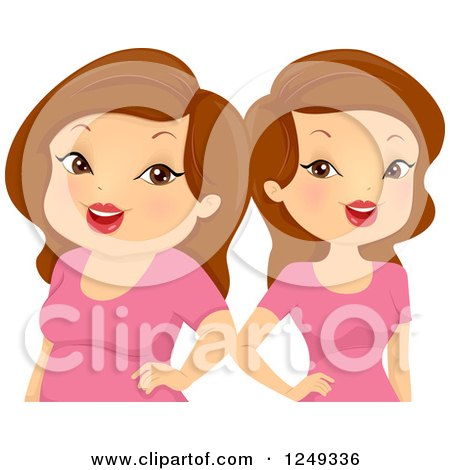 Clipart of Thin and Chubby Brunette Caucasian Twin Ladies - Royalty Free Vector Illustration by BNP Design Studio