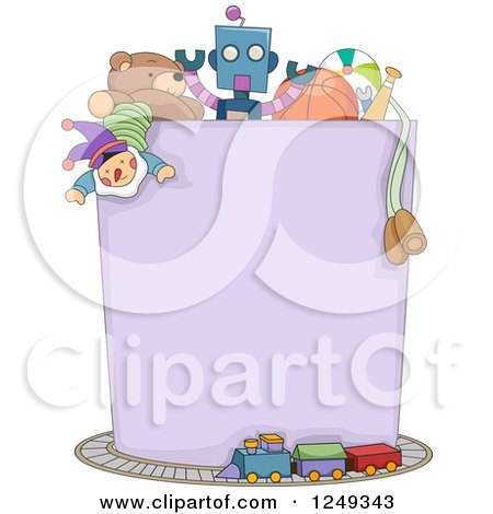 Clipart of a Blank Box Full of Boy Toys and Surrounded by a Train - Royalty Free Vector Illustration by BNP Design Studio