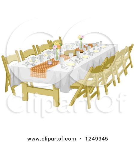 Clipart of an Informal Rehearsal Dinner Table - Royalty Free Vector Illustration by BNP Design Studio