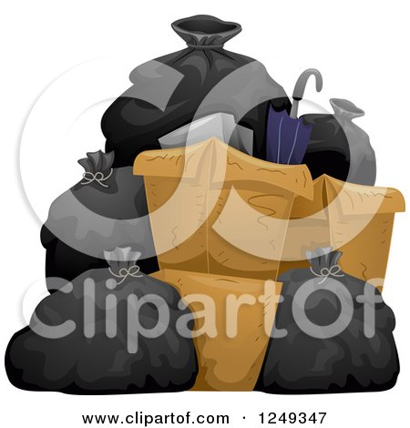 Clipart of a Heap of Garbage Bags and Boxes - Royalty Free Vector Illustration by BNP Design Studio