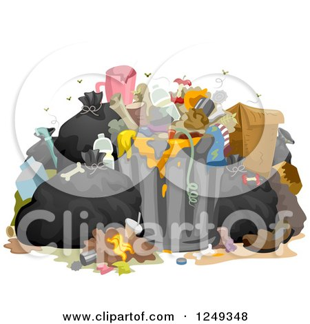 Clipart of a Heap of Stinky Messy Garbage - Royalty Free Vector Illustration by BNP Design Studio