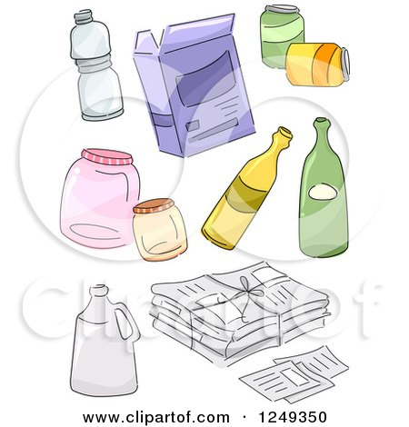 Clipart of Sketched Recycle Items - Royalty Free Vector ...