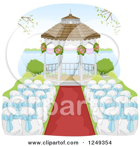 Clipart of a Wedding Gazebo and Chairs by a Lake - Royalty Free Vector Illustration by BNP Design Studio