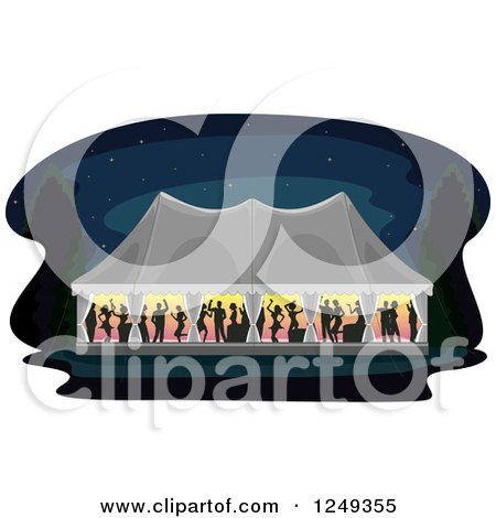 Clipart of Silhouetted People Dancing in a Wedding Reception Party Tent at Night - Royalty Free Vector Illustration by BNP Design Studio