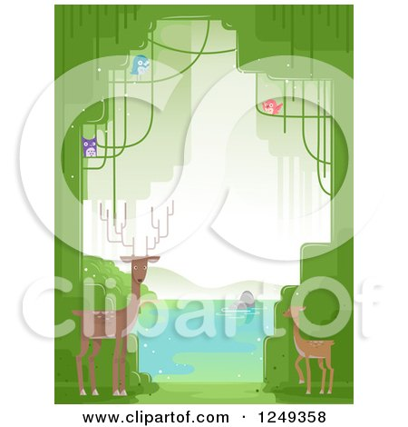 Clipart of a Background of Forest Animals and Trees at a Lake - Royalty Free Vector Illustration by BNP Design Studio