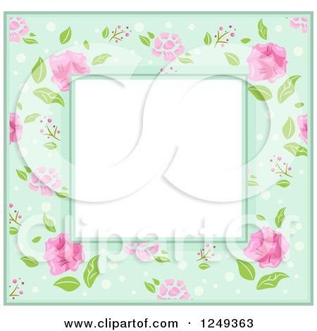 Clipart of a Green Border with Pink Flowers Around Text Space - Royalty Free Vector Illustration by BNP Design Studio