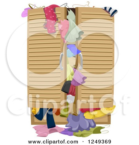Clipart of a Full Closet over Flowing with Clothes - Royalty Free Vector Illustration by BNP Design Studio