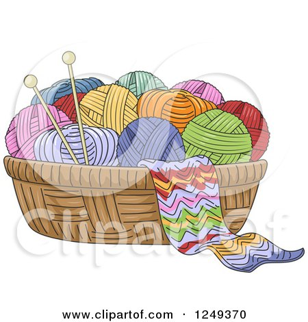 Clipart Of A Basket Of Yarn And Knitting Needles Royalty