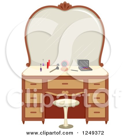 Clipart Of A Vanity Table With Makeup Royalty Free