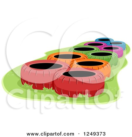 Clipart of Colorful Tires in an Obstacle Course - Royalty Free Vector Illustration by BNP Design Studio