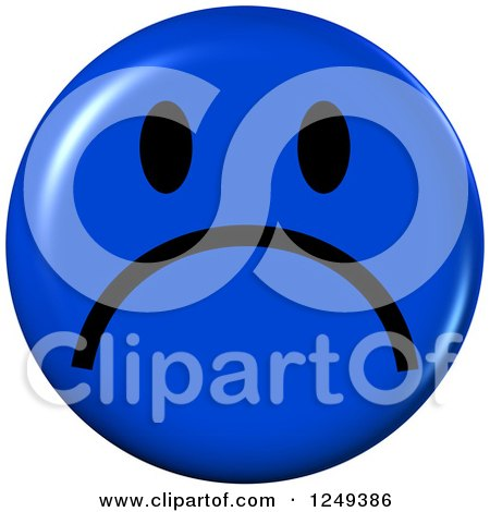 Blue Sad Face Emoticon 3d Sad Blue Emoticon Face