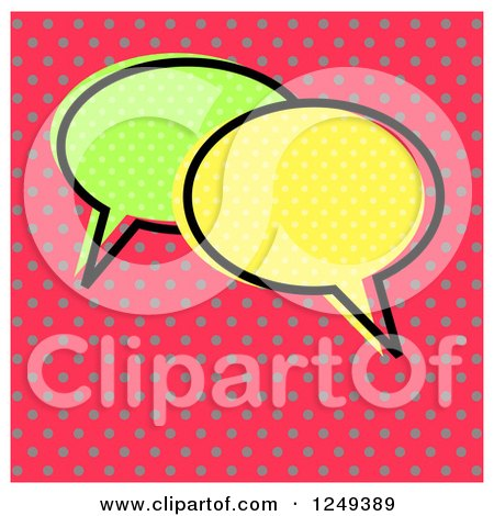 Clipart of Retro Speech Balloons over Dots - Royalty Free Illustration by Prawny
