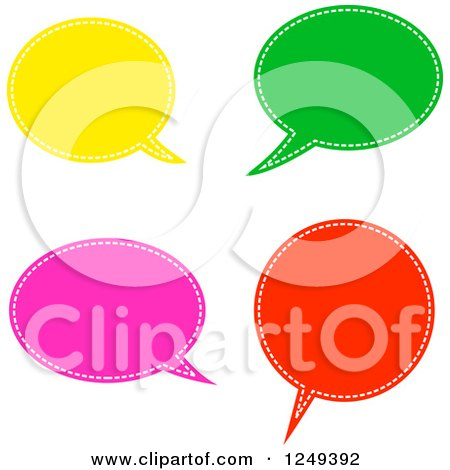 Clipart of Colorful Speech Balloons on White - Royalty Free Illustration by Prawny