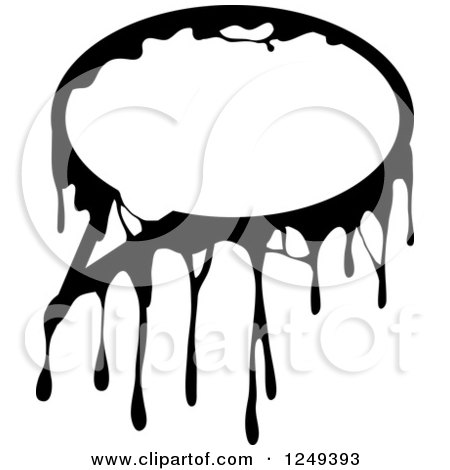 Clipart of a Black and White Dripping Hand on White - Royalty Free Illustration by Prawny