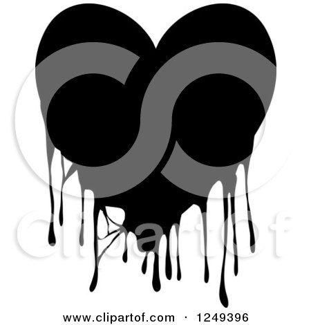 Clipart of a Black and White Dripping Heart on White - Royalty Free Illustration by Prawny