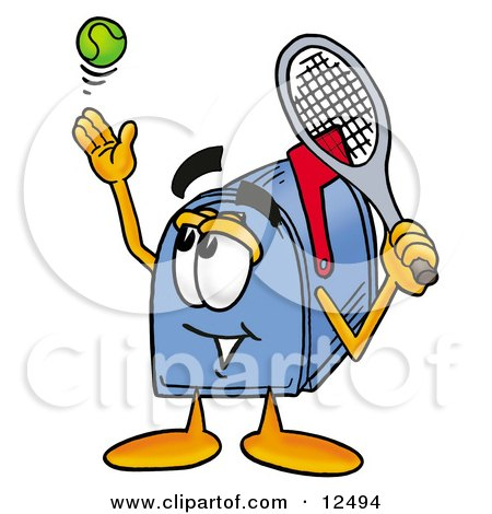 Clipart Picture of a Blue Postal Mailbox Cartoon Character Preparing to Hit a Tennis Ball by Toons4Biz