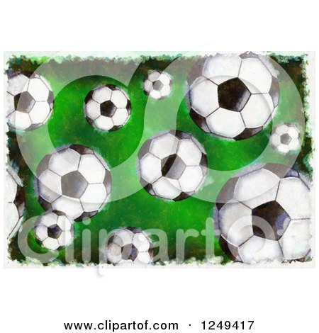 Clipart of a Grungy Background of Soccer Balls - Royalty Free Illustration by Prawny